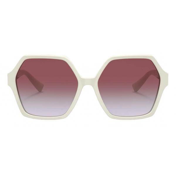 Valentino - Occhiale da Sole Esagonale in Acetato VLogo Signature - Avorio Viola - Valentino Eyewear