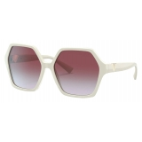 Valentino - VLogo Signature Hexagonal Acetate Frames Sunglasses - Ivory Purple - Valentino Eyewear