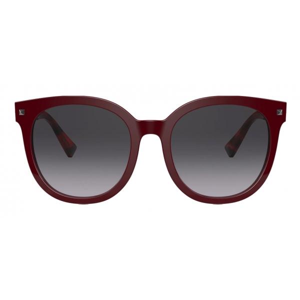 Valentino - Studded Round Acetate Sunglasses - Burgundy Havana Gray - Valentino Eyewear