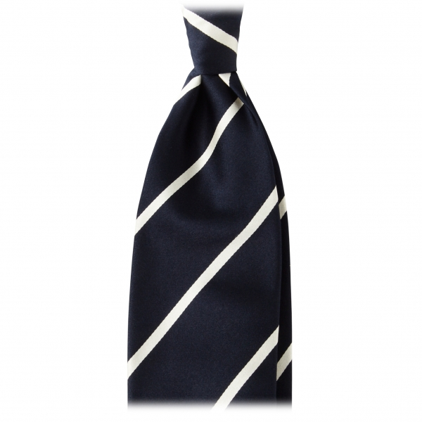 Viola Milano - Classic Stripe Selftipped Woven Silk Jacquard Tie – Navy / White - Made in Italy - Luxury Exclusive Collection