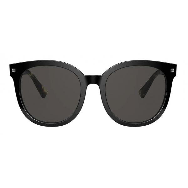 Valentino - Occhiale da Sole Rotondi in Acetato Stud - Giallo Havana Grigio - Valentino Eyewear