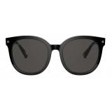 Valentino - Studded Round Acetate Sunglasses - Yellow Havana Gray - Valentino Eyewear