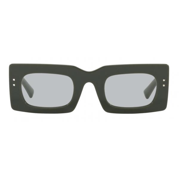 Valentino - Occhiale da Sole Rettangolare in Acetato VLogo Signature - Verde Grigio - Valentino Eyewear