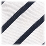 Viola Milano - Classic Stripe Selftipped Silk Jacquard Tie - White / Navy - Made in Italy - Luxury Exclusive Collection