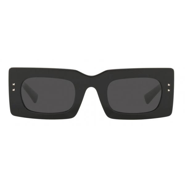 Valentino - Occhiale da Sole Rettangolare in Acetato VLogo Signature - Nero Grigio - Valentino Eyewear