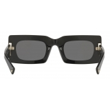 Valentino - VLogo Signature Rectangular Acetate Sunglasses - Black Gray - Valentino Eyewear