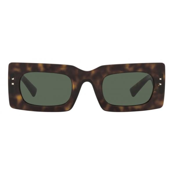 Valentino - Occhiale da Sole Rettangolare in Acetato VLogo Signature - Havana Verde - Valentino Eyewear