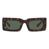 Valentino - VLogo Signature Rectangular Acetate Sunglasses - Havana Green - Valentino Eyewear