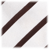 Viola Milano - Classic Stripe Selftipped Silk Jacquard Tie - Brown / Navy - Made in Italy - Luxury Exclusive Collection