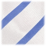 Viola Milano - Classic Stripe Selftipped Silk Jacquard Tie - Sea / Navy - Made in Italy - Luxury Exclusive Collection