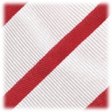 Viola Milano - Classic Stripe Selftipped Silk Jacquard Tie - Red / Navy - Made in Italy - Luxury Exclusive Collection