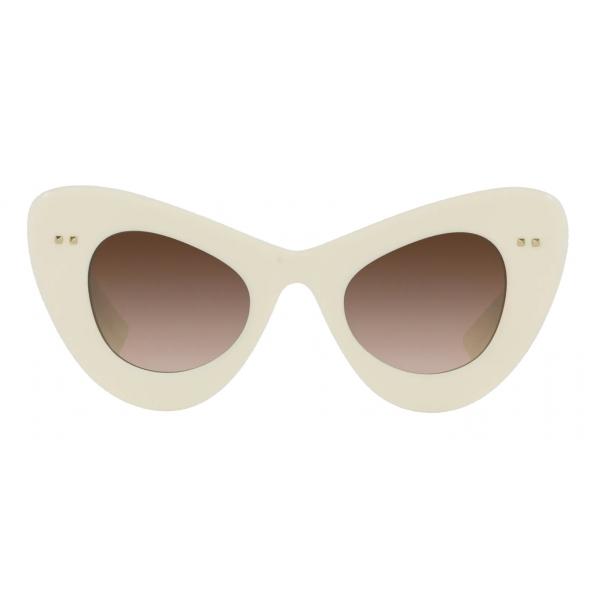 Valentino - Occhiale da Sole Cat-Eye in Acetato VLogo Signature - Avorio Marrone - Valentino Eyewear