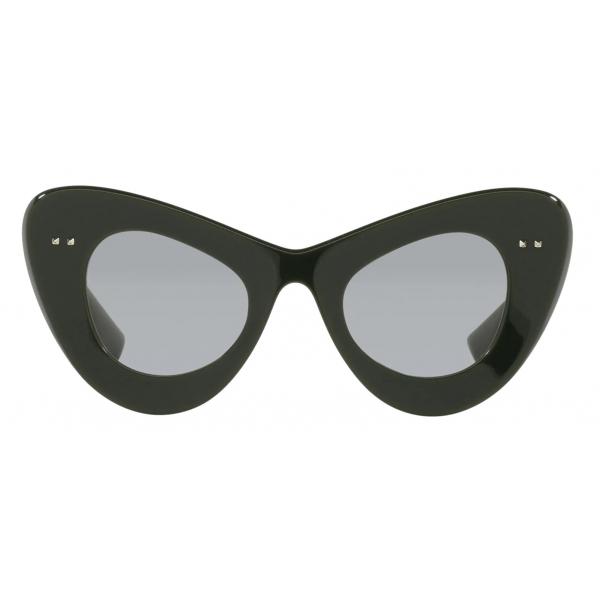 Valentino - Occhiale da Sole Cat-Eye in Acetato VLogo Signature - Verde Grigio Chiaro - Valentino Eyewear