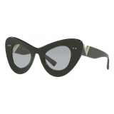 Valentino - VLogo Signature Cat-Eye Acetate Sunglasses - Green Light Gray - Valentino Eyewear