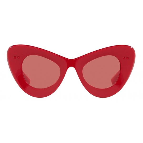 Valentino - Occhiale da Sole Cat-Eye in Acetato VLogo Signature - Rosso - Valentino Eyewear