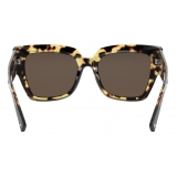 Valentino - VLogo Signature Square Acetate Sunglasses - Havana Brown - Valentino Eyewear