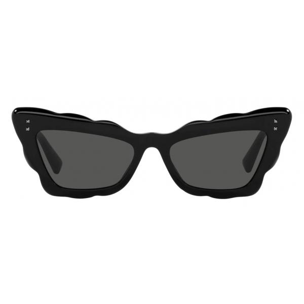 Valentino - Occhiale da Sole Cat-Eye in Acetato - Nero Grigio - Valentino Eyewear