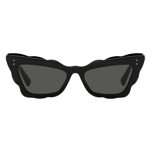 Valentino - Cat-Eye Acetate Sunglasses - Black Gray - Valentino Eyewear