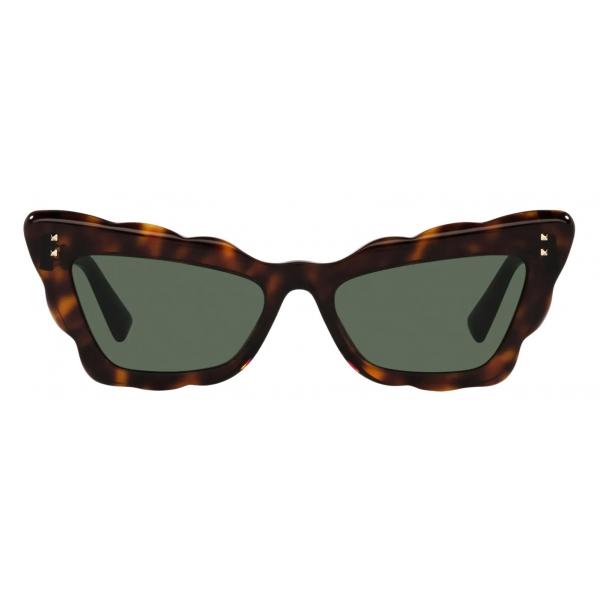 Valentino - Occhiale da Sole Cat-Eye in Acetato - Havana Verde - Valentino Eyewear