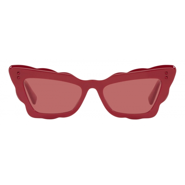 Valentino - Cat-Eye Acetate Sunglasses - Red - Valentino Eyewear