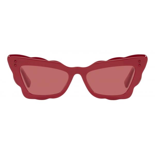 Valentino - Occhiale da Sole Cat-Eye in Acetato - Rosso - Valentino Eyewear