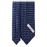 Viola Milano - Cube Pattern Selftipped Silk Tie - Navy - Made in Italy - Luxury Exclusive Collection