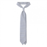 Viola Milano - Cube Pattern Selftipped Silk Tie - White- Made in Italy - Luxury Exclusive Collection