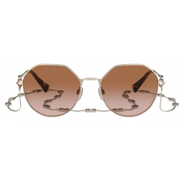Valentino - Occhiale da Sole Irregolare in Metallo Vlogo Signature - Oro Marrone - Valentino Eyewear