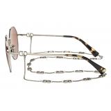 Valentino - VLogo Signature Irregular Metal Sunglasses - Gold Brown - Valentino Eyewear