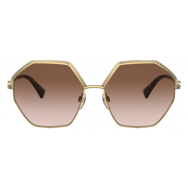 Valentino - Occhiale da Sole Esagonale in Metallo Vlogo Signature - Oro Marrone - Valentino Eyewear