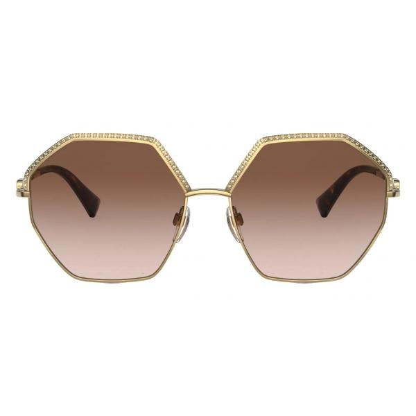 Valentino - VLogo Signature Hexagonal Metal Sunglasses - Gold Brown - Valentino Eyewear