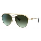 Valentino - VLogo Signature Pilot Metal Sunglasses - Gold Green - Valentino Eyewear