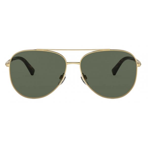 Valentino - Studded Pilot Metal Sunglasses - Gold Green - Valentino Eyewear