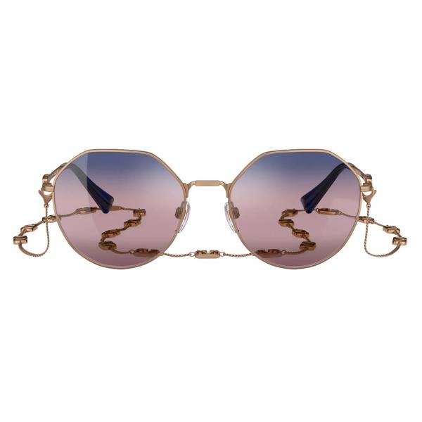 Valentino - VLogo Signature Irregular Metal Sunglasses - Gold Pink - Valentino Eyewear