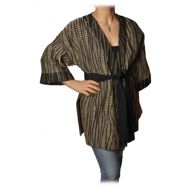 Ottod'Ame - Kimono con Fusciacca - Nero/Beige - Giacca - Luxury Exclusive Collection