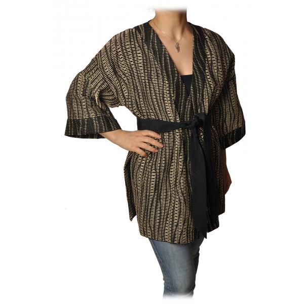 Ottod'Ame - Kimono with Sash - Black/Beige - Jacket - Luxury Exclusive Collection
