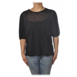 Ottod'Ame - T-Shirt with Puff Sleeves - Black - T-Shirt - Luxury Exclusive Collection
