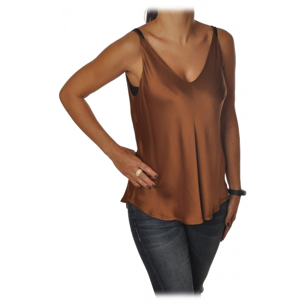 Ottod'Ame - Top Satin Effect - Caramel - Top - Luxury Exclusive Collection