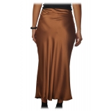 Ottod'Ame - Midi Skirt Satin Effect - Caramel - Skirt - Luxury Exclusive Collection