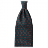 Viola Milano - Diamond Floral Handprinted Ancient Madder Silk Tie - Forest Mix - Made in Italy - Luxury Exclusive Collection