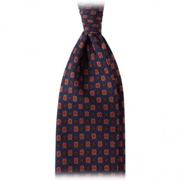 Viola Milano - Diamond Floral Handprinted Ancient Madder Silk Tie – Navy Mix - Made in Italy - Luxury Exclusive Collection