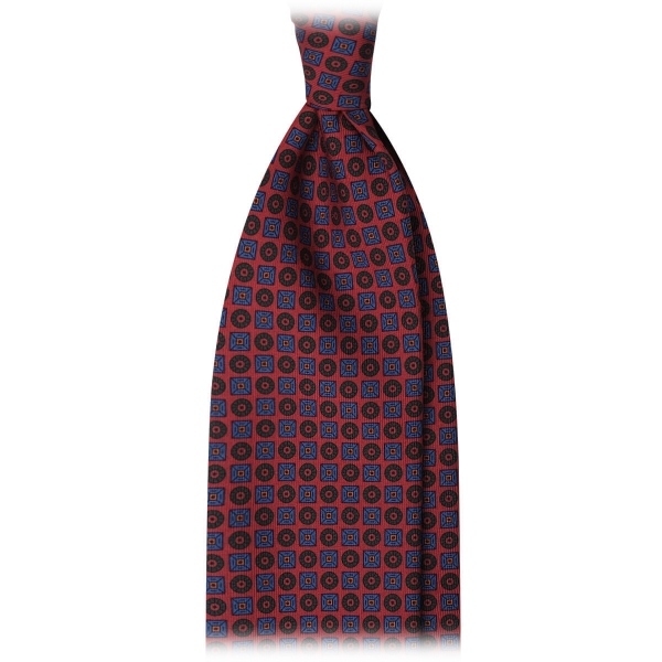 Viola Milano - Diamond Floral Handprinted Ancient Madder Silk Tie - Red - Made in Italy - Luxury Exclusive Collection