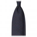 Viola Milano - Diamond Floral Handprinted Ancient Madder Silk Tie - Sea - Made in Italy - Luxury Exclusive Collection