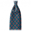 Viola Milano - Diamond Floral Handprinted Ancient Madder Silk Tie - Green Mix - Made in Italy - Luxury Exclusive Collection