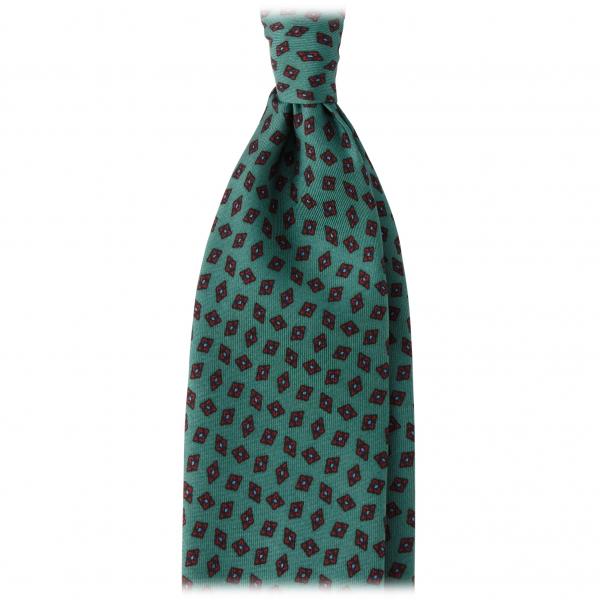 Viola Milano - Cravatta Diamantata in Seta Italiana Floreale - Verde - Made in Italy - Luxury Exclusive Collection
