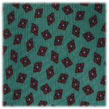 Viola Milano - Diamond Floral Selftipped Italian Silk Tie - Green - Made in Italy - Luxury Exclusive Collection