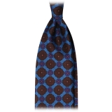 Viola Milano - Diamond Flower Handprinted Ancient Madder Silk Tie - Sea - Made in Italy - Luxury Exclusive Collection