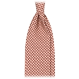 Viola Milano - Dogtooth Selftipped Italian Silk Tie - Cola - Made in Italy - Luxury Exclusive Collection