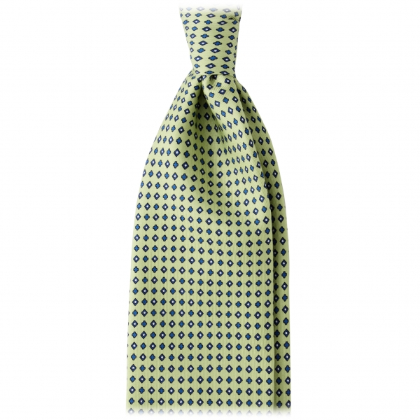 Viola Milano - Floral Pattern Handprinted Selftipped Silk Tie - Apple - Made in Italy - Luxury Exclusive Collection