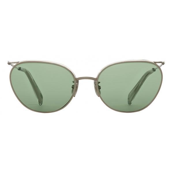 Céline - Metal Frame 11 Sunglasses in Metal with Glitter Lenses - Silver Light Green - Sunglasses - Céline Eyewear